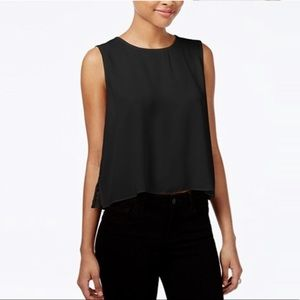 Rachel Roy Pleated Lace Back Top Black Small NWT